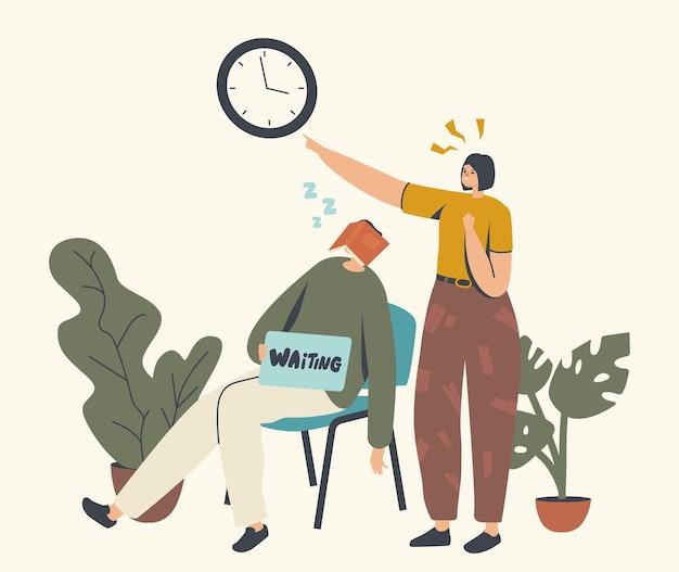 Larga espera, personajes cansados en la sala de espera. mujer apuntando sobre reloj colgado en la pared, hombre durmiendo en una silla