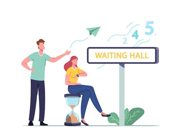 Larga espera, personajes masculinos femeninos en la sala de espera
