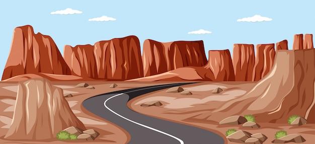 Largo camino en blanco en medio del fondo de los acantilados
