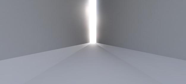 Un largo pasillo blanco vacío con rayos de luz al final del camino.