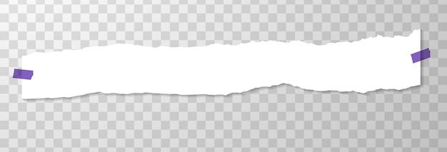 Largo trozo de papel arrancado horizontal con pegatinas púrpura.
