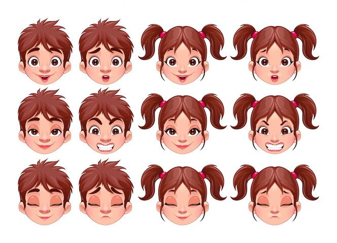 Las diferentes expresiones de los caracteres del vector aislado de niño y niña