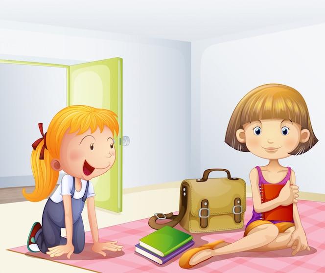 Las dos chicas dentro de una habitación con libros