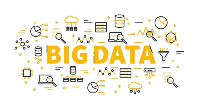 Las palabras big data rodeadas de iconos