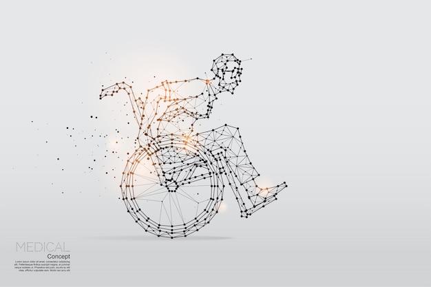 Las partículas, arte geométrico del hombre de negocios en silla de ruedas.