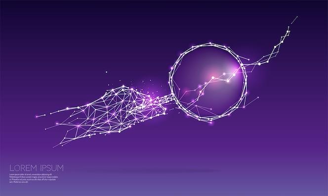 Las partículas y el arte geométrico - mano con magnificar vidrio