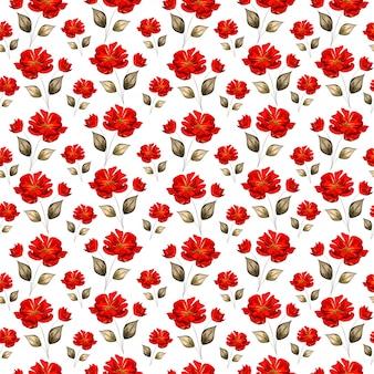 Las rosas rojas hermosas adornaron el fondo inconsútil del modelo.