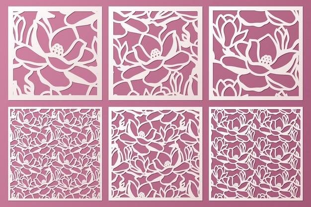 Láser y plantilla de paneles ornamentales troquelados con patrón de flores de magnolia. gabinete panel calado. panel de metal cortado con láser. tallado en madera.
