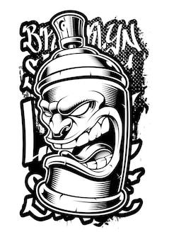 Lata de aerosol de graffiti. ilustración de arte callejero sobre fondo oscuro.