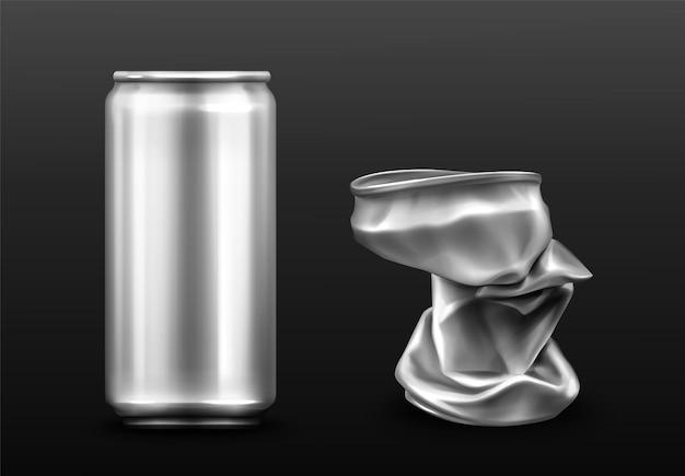 Lata de aluminio arrugada, recipiente vacío para refrescos o cerveza.