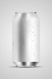 Lata de aluminio blanco en blanco 3d con gota de agua