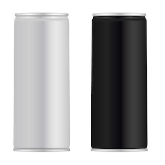 Lata de aluminio. lata de jugo. bebida energética