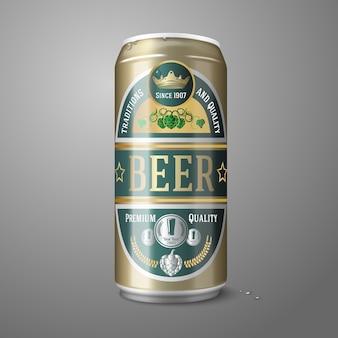 Lata de cerveza dorada con etiqueta de cerveza
