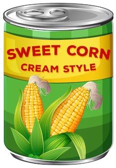 Una lata de estilo de crema de maíz dulce