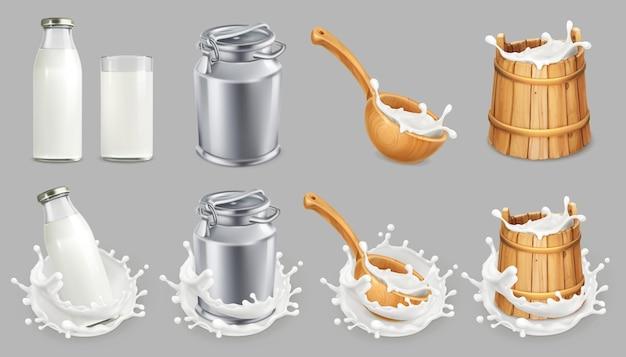 Lata de leche y salpicaduras. productos lácteos naturales. conjunto de iconos