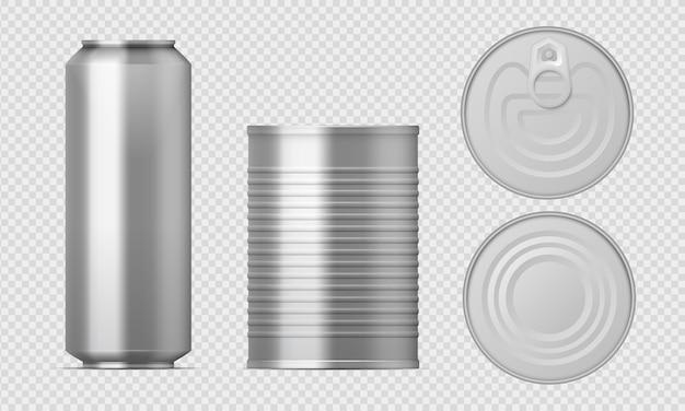 Lata de metal. paquetes de alimentos realistas, plantillas de cilindros en blanco, cajas conservadas de aluminio con diferentes vistas.