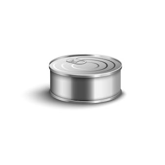 Lata de metal pequeña realista con tapa de anillo cerrada sobre fondo blanco - recipiente de conserva de pescado corto con superficie lisa plateada brillante, ilustración