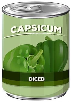Una lata de pimiento en cubos