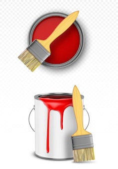 Lata de pintura con pincel, balde de hojalata con gotas rojas que gotean vista superior y frontal aisladas sobre fondo transparente.