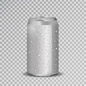 Lata de refresco de aluminio realista con gotas de agua sobre el fondo transparente.