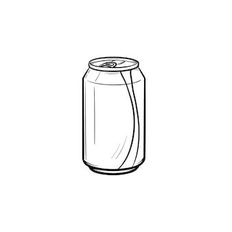 Lata de refresco icono de doodle de contorno dibujado a mano. lata de refresco de metal con ilustración de dibujo de vector de pajita para impresión, web, móvil e infografía aislado sobre fondo blanco.