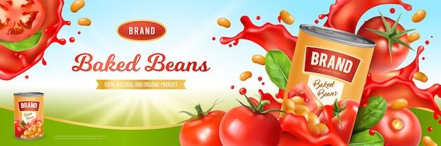 Lata de sabrosos frijoles horneados con salsa de tomate y hojas verdes realistas