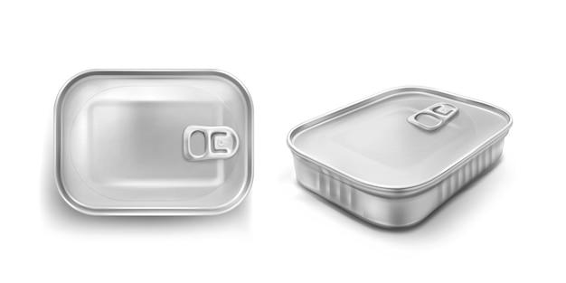 Lata de sardina con maqueta de anillo de tiro y vista en ángulo. frasco de metal para alimentos con tapa cerrada, rectángulo de aluminio de color plateado conserva el recipiente aislado sobre fondo blanco, iconos vectoriales 3d realistas