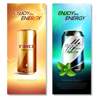 Latas de aluminio bebidas vertical banner set