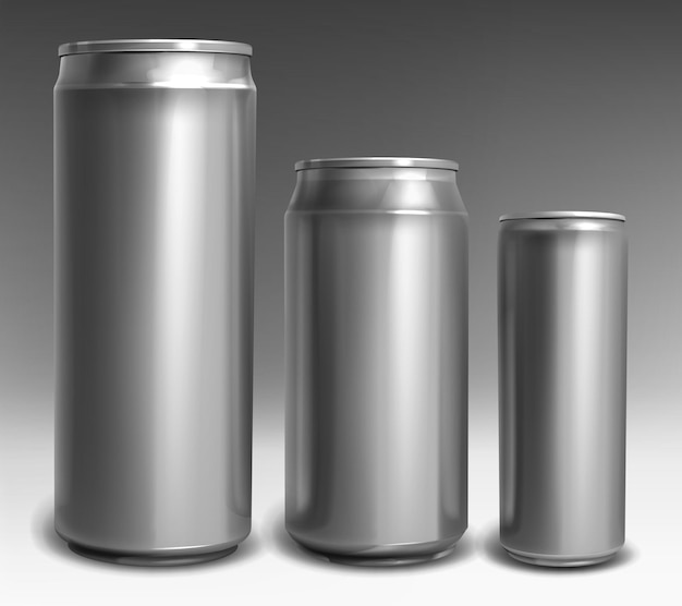 Latas de aluminio plateado de diferentes tamaños para refrescos, cerveza, bebidas energéticas, cola, jugo o limonada aislado sobre fondo gris. maqueta realista de vector, plantilla de lata de metal para vista frontal de bebida fría