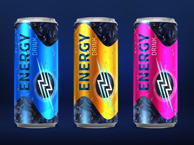 Latas de bebidas energéticas desechables realistas en diferentes colores de plantilla de diseño vectorial aislado