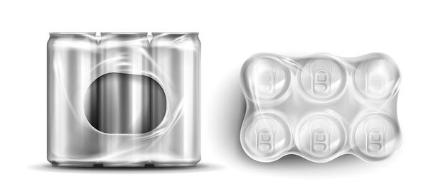 Latas en envoltorios de plástico