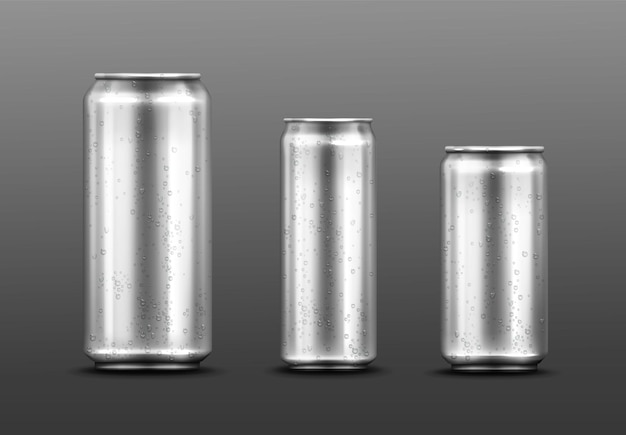 Latas de metal con gotas de agua, recipiente para refresco o bebida energética, limonada o cerveza.