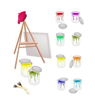 Latas de pintura y caballete con cepillo y boina