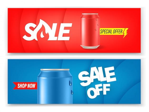 Latas de refresco pancartas conjunto de vectores. diseño de banners publicitarios