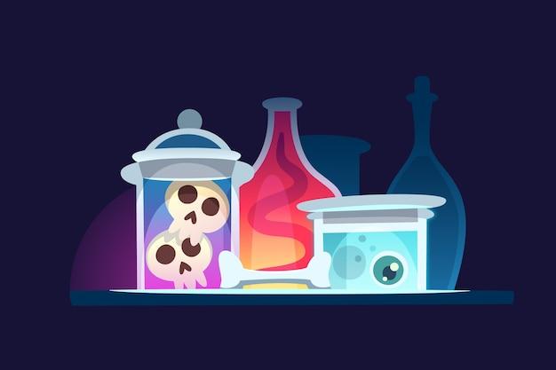 Latas de vidrio con botellas de pociones de brujería