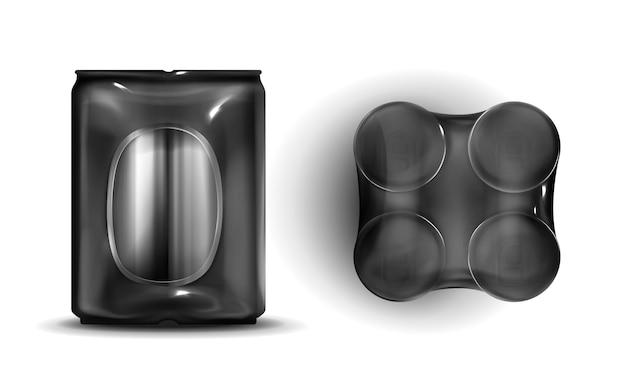 Latas en la vista frontal y superior de envoltura de plástico.