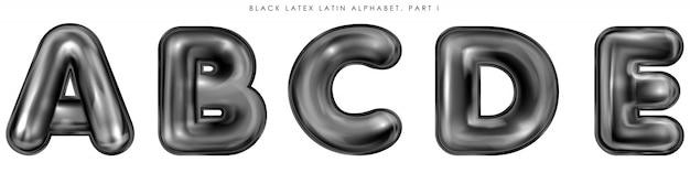 Látex negro inflado símbolos del alfabeto, letras aisladas abcde