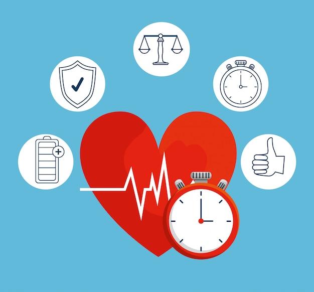 Latido del corazón con cronómetro para un equilibrio saludable en el estilo de vida.