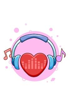 Latido del corazón con la ilustración de dibujos animados de icono de música de auriculares