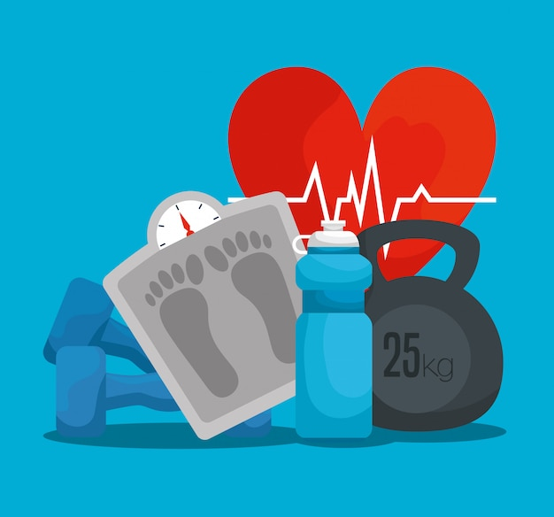 Latido del corazón con máquina de pesaje y botella de agua