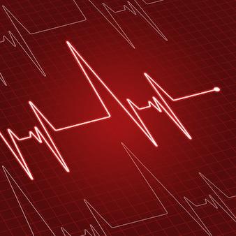 Latido del corazón o electrocardiograma en la pantalla para el diseño de medicina y cardiología