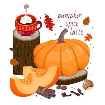Latte de especias de calabaza: taza de café, calabaza grande, rodajas de calabaza, canela, especias de clavo, avellana, granos de café, hojas de otoño, elementos decorativos de madera