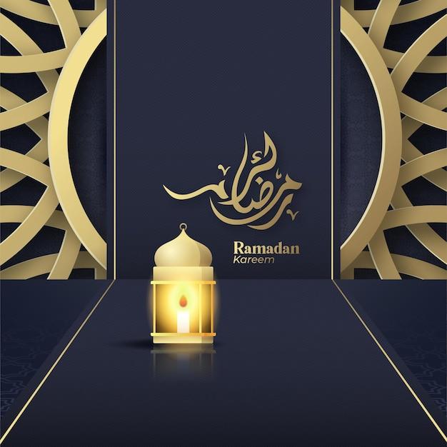 Lattern en ramadan kareem saludo islámico