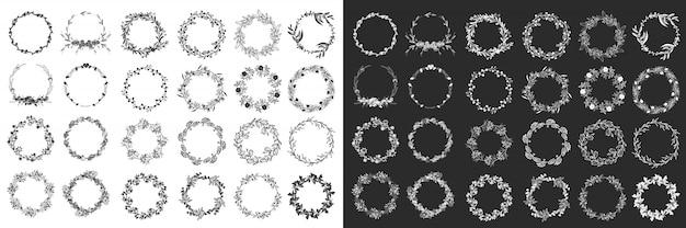 Laureles y coronas. conjunto de elementos de diseño