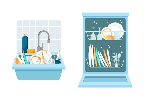 Lava con un montón de platos sucios y abre el lavavajillas con platos limpios. diferentes utensilios de cocina para el hogar antes y después del lavado. ilustración de vector de estilo plano de moda.