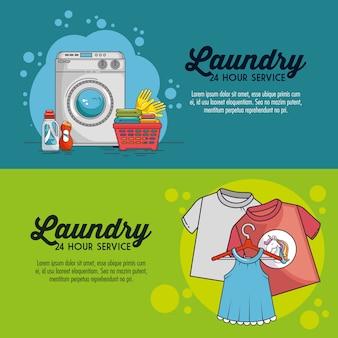 Lavadero con lavadora y ropa