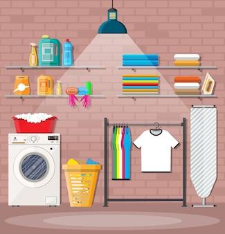 Lavadero con lavadora.