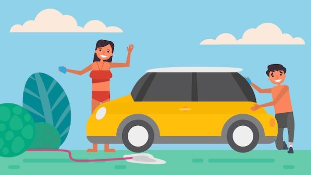 Lavado de autos aficiones del amante actividades que las parejas pasan juntas en verano, vacaciones, tiempo con sus seres queridos felicidad ningún lugar como el concepto de hogar, ilustración colorida en estilo plano de dibujos animados.