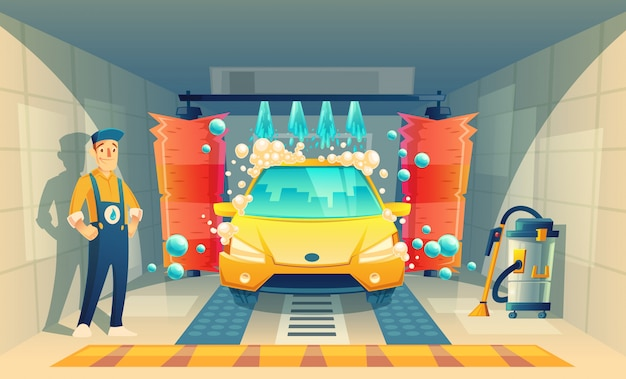 Lavado de autos automático, servicio con personaje de dibujos animados en caja, vehículo amarillo dentro de la cabina