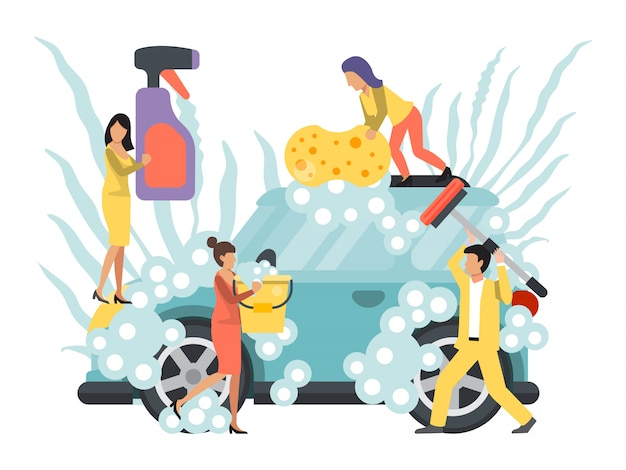 Lavado de autos, autoservicio. gente lavando autos. servicio comercial de limpieza de automóviles